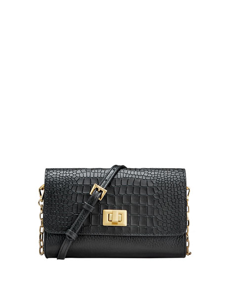 Gigi New York Catherine Alligator-Print Crossbody Bag - Brushed Golden Hardware