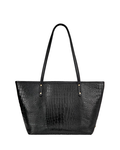 Taylor Crocodile-Embossed Tote Bag