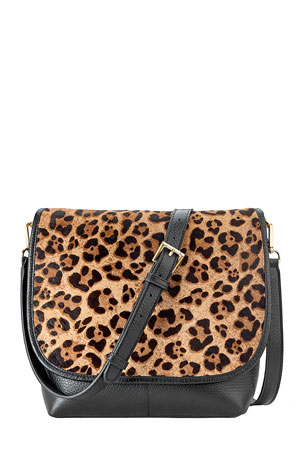 Gigi New York Andy Leopard Flap Top Crossbody Bag