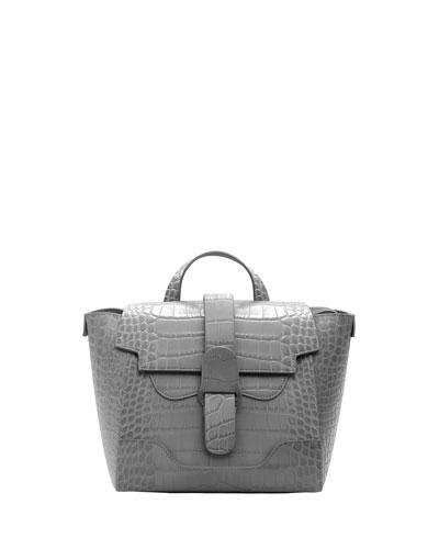 Maestra Mini Croc-Embossed Satchel Bag