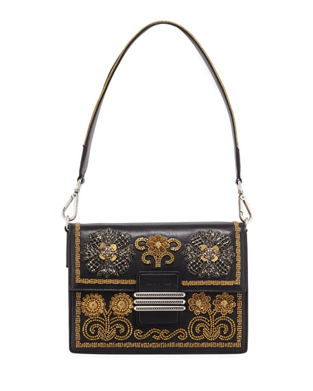 Etro English Rose Embroidered Rainbow Shoulder Bag