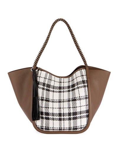 Large Woven Plaid and Leather Tote Bag