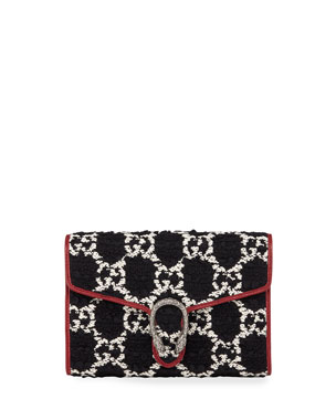 294a3db8204f1 Gucci Dionysus GG Tweed Wallet on Chain with Tiger Spur