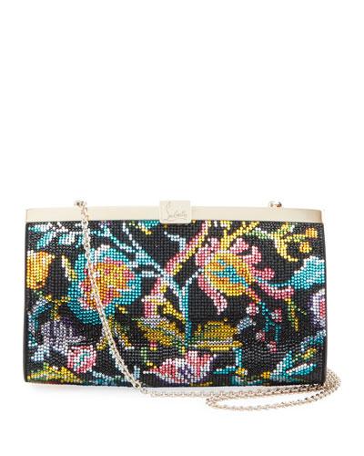 Palmette Small Suede Point de Croix Clutch Bag