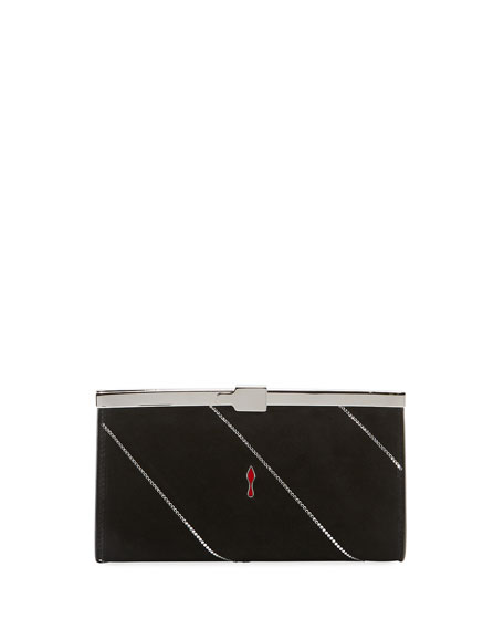 Image 3 of 4: Christian Louboutin Palmette Small Suede Clutch Bag