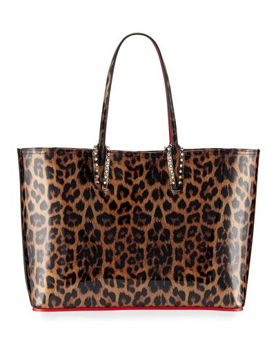 Cabata Leopard-Print Patent Tote Bag