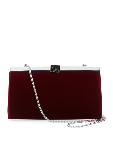 Christian Louboutin Palmette Small Velvet Clutch Bag