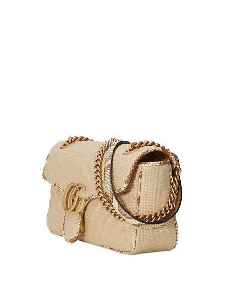 Gucci GG Marmont Raffia Shoulder Bag