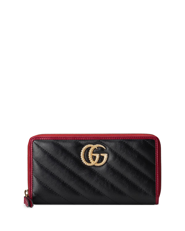 b905e510cf51 Gucci GG Marmont Torchon Zip Wallet | Neiman Marcus