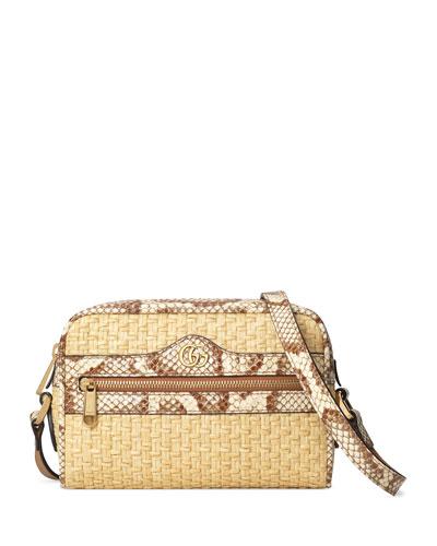 Ophidia Mini Woven Crossbody Bag