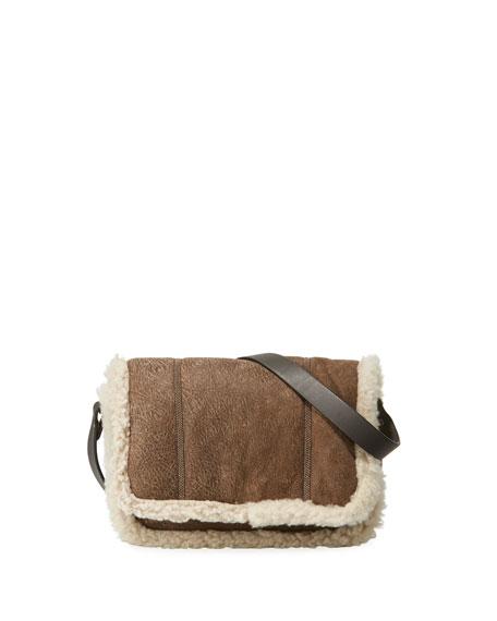 Brunello Cucinelli Shearling-Lined Crossbody Bag