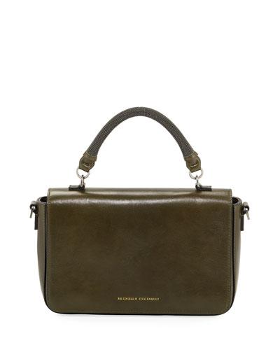 Leather Monili-Handle Crossbody Bag
