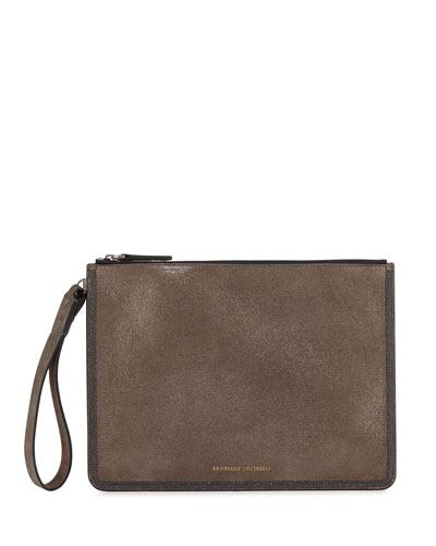 Brushed Leather Pouch Wallet with Monili Border