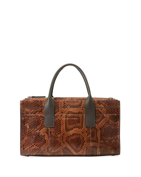 Brunello Cucinelli Python East-West Tote Bag with Crossbody Strap
