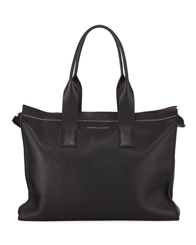 Leather Shopper Tote Bag with Monili Trim