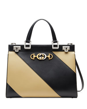 800d938287 Gucci Gucci Zumi Medium Diagonal Striped Top-Handle Bag