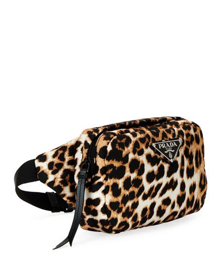 Prada Tessuto Soft Leopard Belt Bag