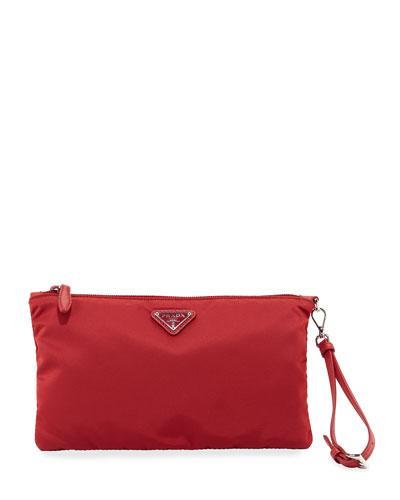 2d11a087b8b3 Prada Vela Small Zip Pouch Clutch Bag