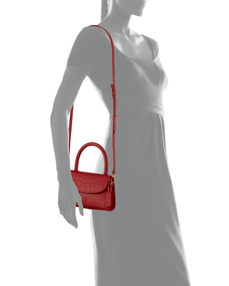 BY FAR Mini Croc-Embossed Leather Top-Handle Bag, Red
