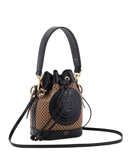 Fendi Mon Tresor Perforated Leather Bucket Bag