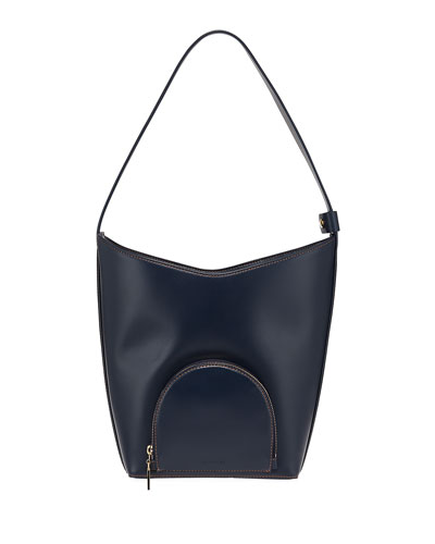 Eva Smooth Leather Bucket Bag  Navy