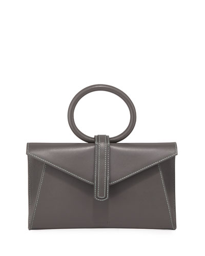 Valery Mini Leather Satchel Bag  Gray