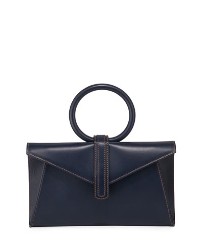 Valery Mini Leather Satchel Bag  Navy