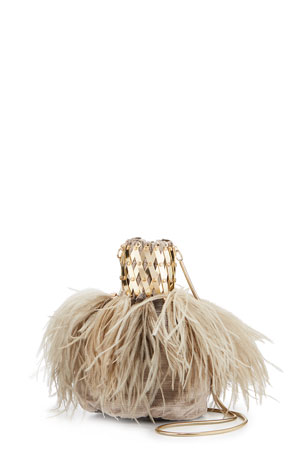 Rosantica Porthos Feather Velvet Clutch Bag