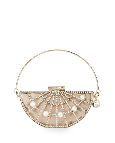 Half Moon Pearly Cage Clutch Bag