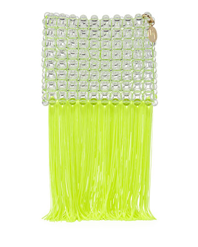 Groove Transparent Beaded Clutch Bag  Bright Yellow