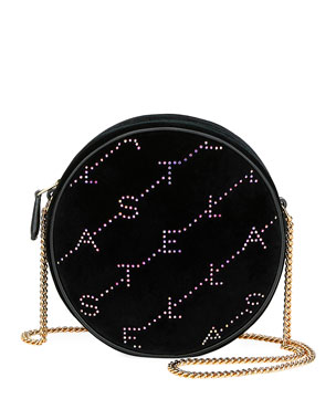 fe8bb73c23b4a Stella McCartney Crystal Velvet Round Monogram Crossbody Bag