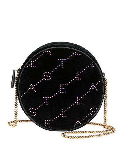 Crystal Velvet Round Monogram Crossbody Bag