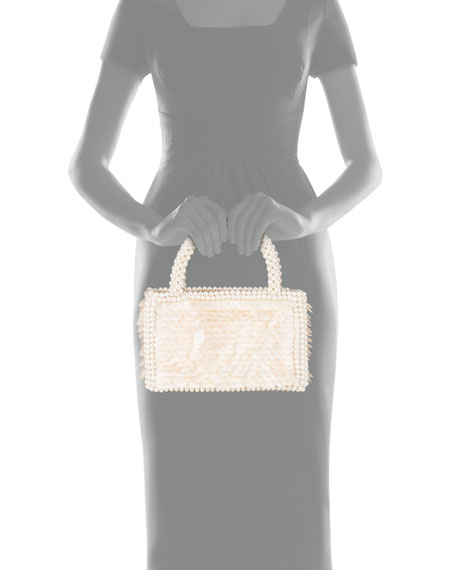 Shrimps Shell Sequin Bag With Pearl Handles