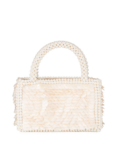 Shell Sequin Bag With Pearl Handles