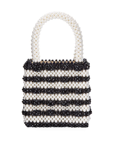 Classic Pearly Striped Top Handle Bag