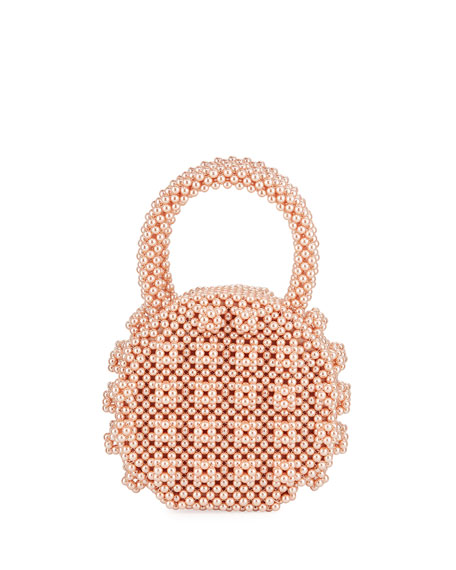 Shrimps Circle Beaded Top Handle Bag