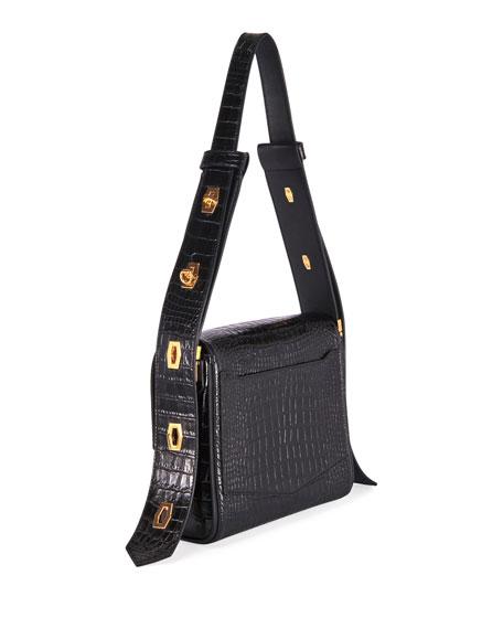 Givenchy Eden Medium Croc-Embossed Shoulder Bag