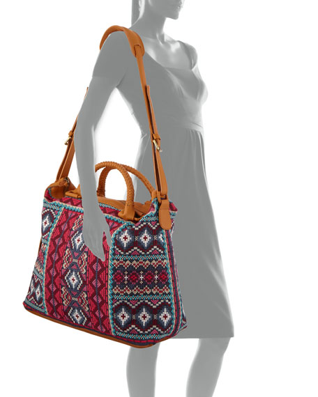 Johnny Was Kaya Embroidered Overnight Tote Bag
