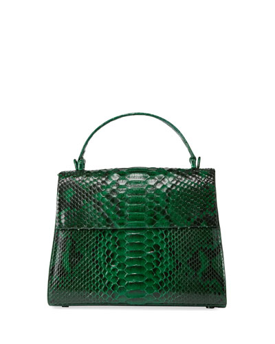 Large Python Top-Handle Bag with Strap