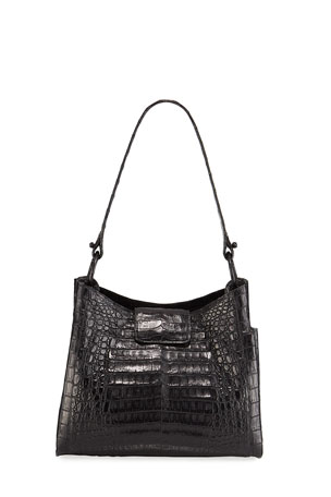 Nancy Gonzalez Medium Soft Crocodile Hobo Bag