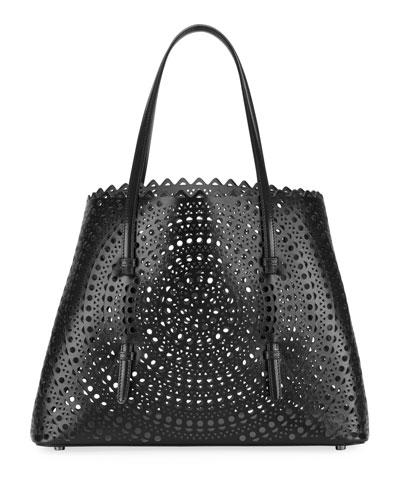 Mina Medium Laser-Cut Leather Tote Bag