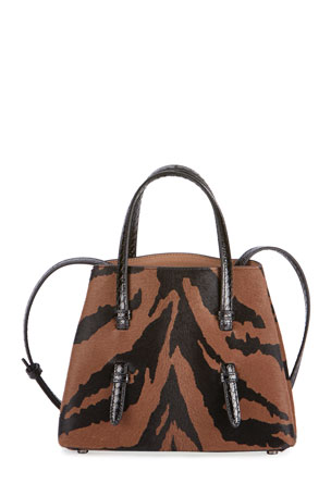 ALAIA Mina Mini Tiger-Print Calf Hair & Snake Tote Bag
