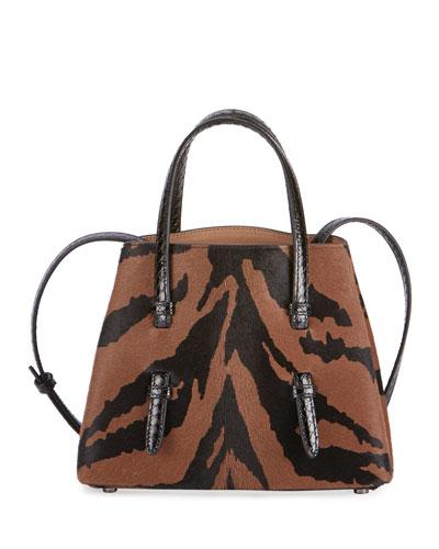 Mina Mini Tiger-Print Calf Hair & Snake Tote Bag