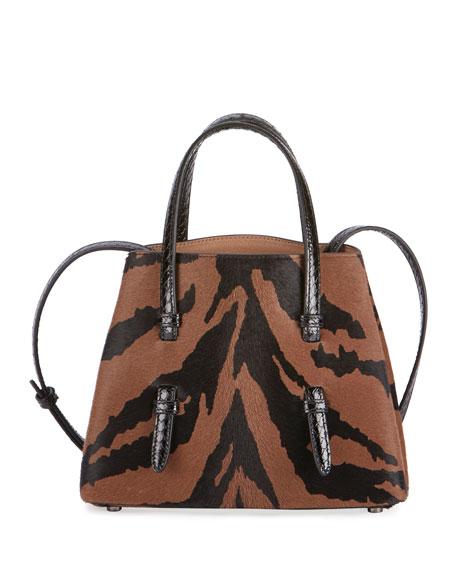 ALAIA Mina Mini Tiger-Print Calf Hair & Snake Tote Bag