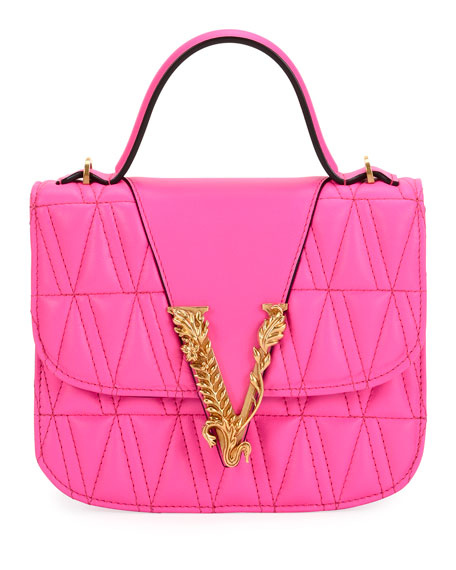 Versace Virtus Quilted Top-Handle Bag