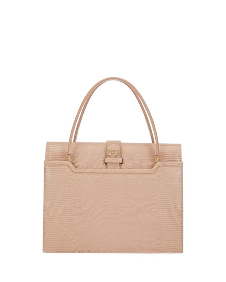 Dolce & Gabbana Ingrid Iguana-Embossed Small Top Handle Bag, Pink