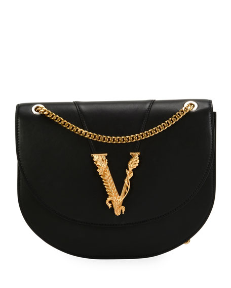 Versace Smooth Vitello Leather Shoulder Bag