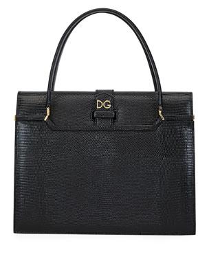 e733d1c0825f Dolce & Gabbana Ingrid Iguana-Embossed Large Top Handle Bag