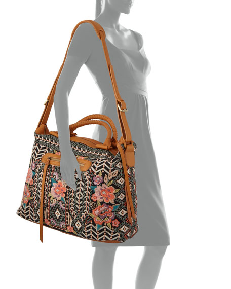 Johnny Was Maeve Embroidered Cotton Canvas Tote Bag