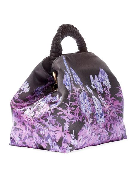 Dries Van Noten Lavender-Print Nylon Top-Handle Bag